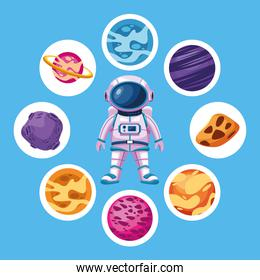 astronaut with space planets around icons