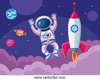 astronaut with rocket and planets space universe scene
