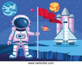 astronaut with flag and rocket space universe scene