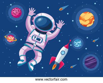 astronaut with planets and rocket space universe scene