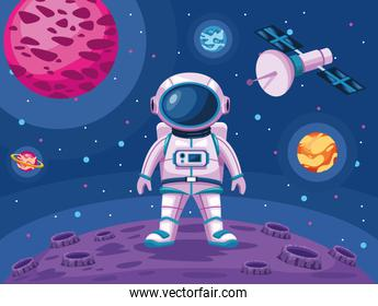astronaut standing in moon with satellite space universe scene