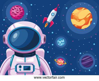 astronaut with spaceship and planets space universe scene