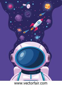 planets and astronaut with rocket space universe scene