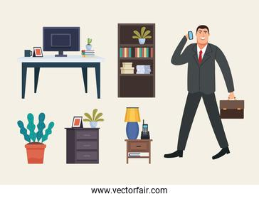 businessman with portfolio and forniture icons