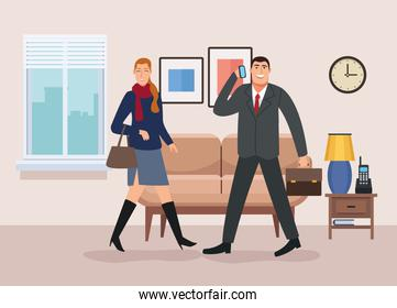 business couple walking in the livingroom back to office