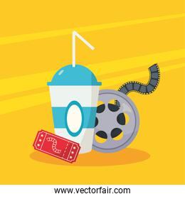 reel tape film with soda drink and ticket