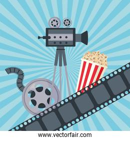 reel tape film with camera and pop corn