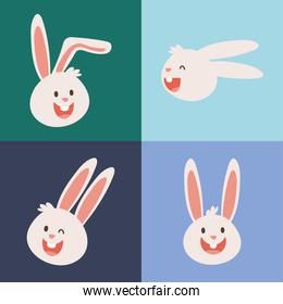 group of rabbits heads characters