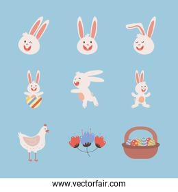bundle of easter rabbits with hen and eggs painted