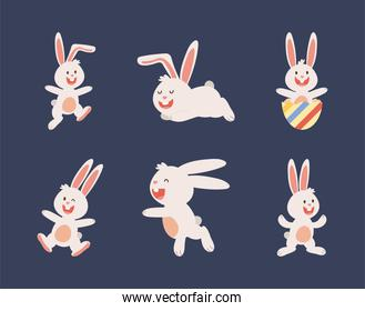 group of easter rabbits with egg painted characters