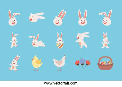 bundle of easter rabbits with chickens and eggs painted