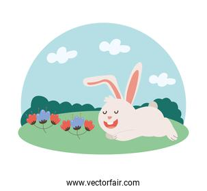 cute little bunny easter with spring flowers in the garden character