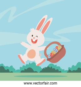 cute little bunny easter with eggs painted in basket character