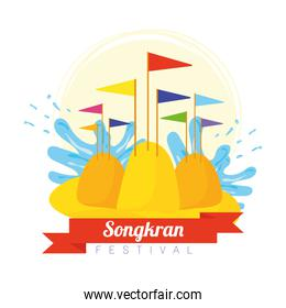 songkran festival celebration lettering with success flags in sand mountains