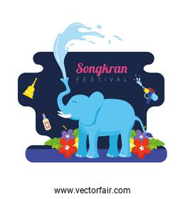 songkran festival celebration lettering with flowers and elephant