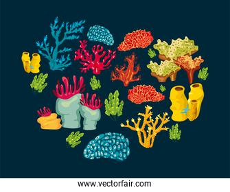 corals sea life nature pattern in blue background