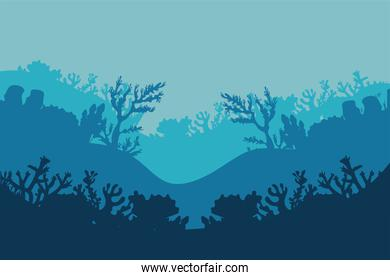 corals and algaes silhouettes nature scene