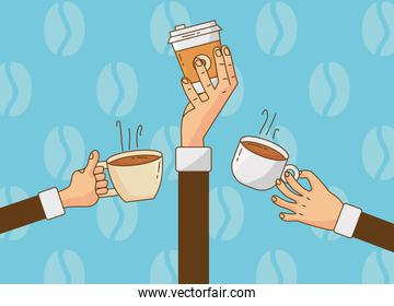 hand lifting coffee drinks in ceramic cups and plastic container