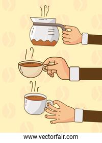 hand lifting coffee drinks in ceramic cups and teapot