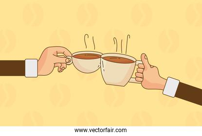hand lifting coffee drinks in ceramic cups