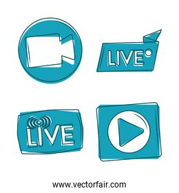 live camera play button internet content promotion icons