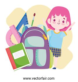 School student with backpack book ruler pencil cartoon