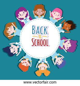 Back to School badge, group students cartoon character