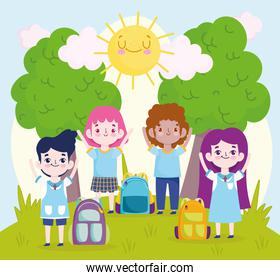 School cartoon little pupils with backpacks in the park cartoon