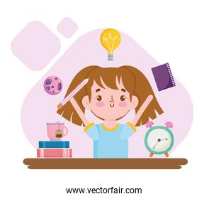 Back to School funny student girl with books alarm clock and tea cup