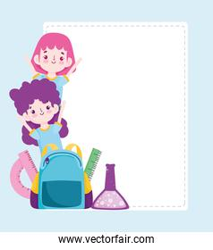 School students girl with bag ruler and test tube science cartoon