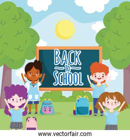 Back to School students characters with blackboard in the park