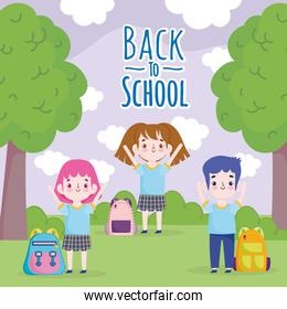 Back to School students with backpack in the park cartoon