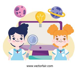 School student boy and girl online lesson with computer