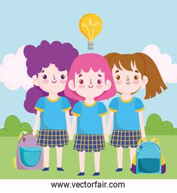 School cute little students girl in uniform cartoon