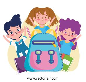 School cute students girls and boy with backpack and books