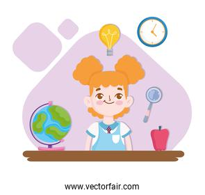 School cute pupil with globe map and apple cartoon
