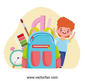 School happy student with backpack clock brush cartoon