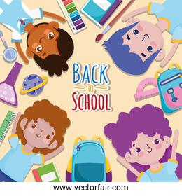 Back to School group students cartoon stationery supplies education