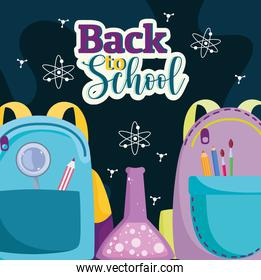 Back to School backpacks with supplies and test tube chemistry