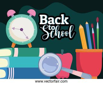 Back to School clock books pencils and magnifier cartoon
