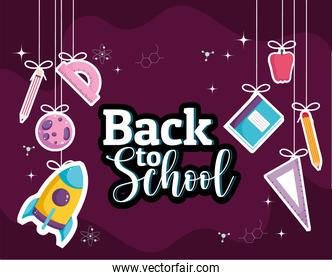 Back to School creative banner with hanging supplies
