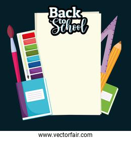 Back to School blank paper with color palette brush ruler and pencil