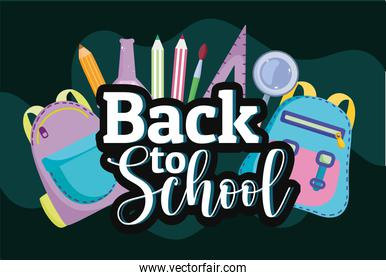 Back to School bags with ruler color pencil and chemistry test tube