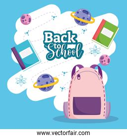 Back to School text backpack books and science planets