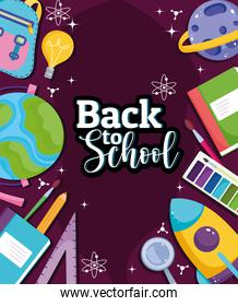 Back to School education class globe map books and supplies