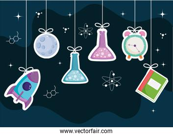 School book test tube clock science background