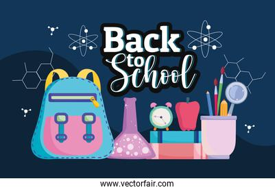 Back to School lettering backpack test tube apple and books