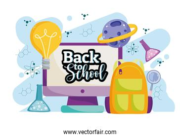 Back to School online education digital backpack creativity