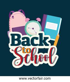 Back to School words, backpack clock and book