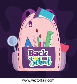 Back to School rucksack with pencil brush apple and magnifier